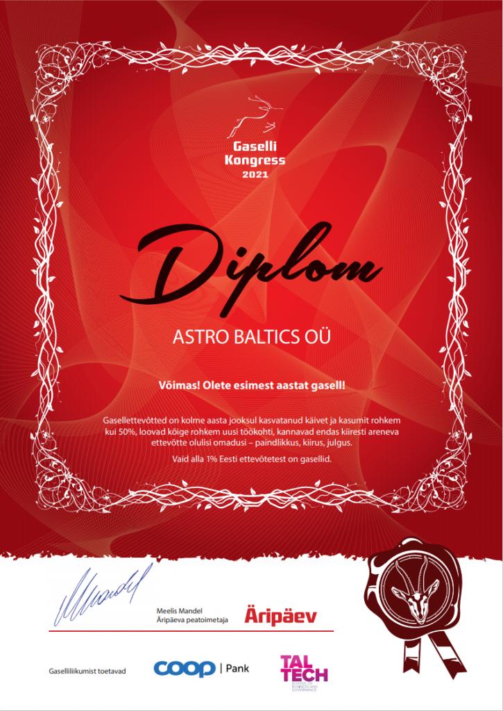Astro Baltics jõudis Äripäeva Gaselli TOPi.